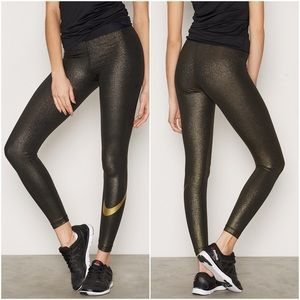 Nike Pro Training Legging Cool Gold Sparkle small
